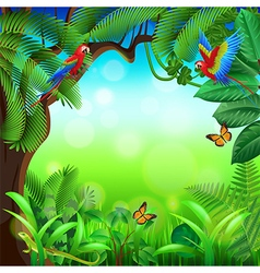 Tropical jungle with animals background vector image vector image