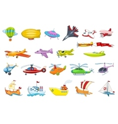 Set of air and water transport vector