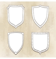 Set of vintage shields vector
