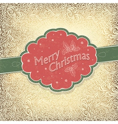 Merry christmas card with snowy pattern vector
