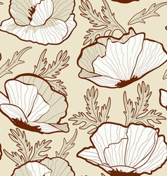 Seamless poppy pattern vector image