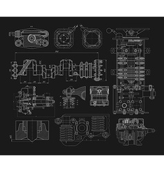 Set of technical drawings vector