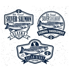 Fishing logo salmon fish icon vector