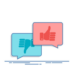 Thumbs up and thumbs down symbol in speech bubbles vector