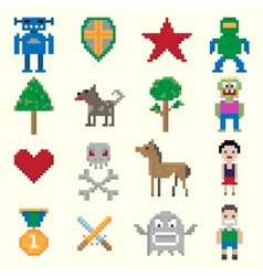 Game pixel characters vector image