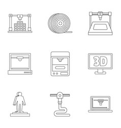 3d printer icon set outline style vector