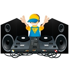 Cute dj with a turntable and two speakers vector