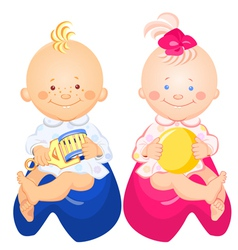 Little baby boy and girl vector