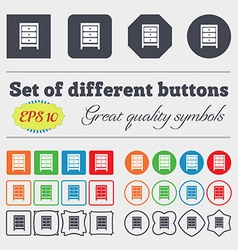 Nightstand icon sign big set of colorful diverse vector
