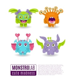 Monsters with toothy grins vector