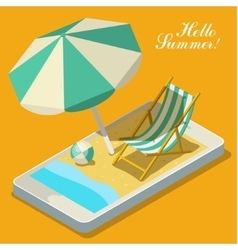 Vacation with mobile phone concept vector