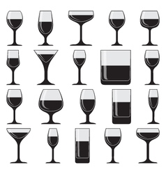Set of twenty glasses on white vector