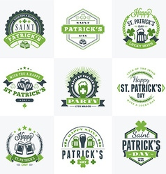 Set of st patricks day retro holiday badges vector