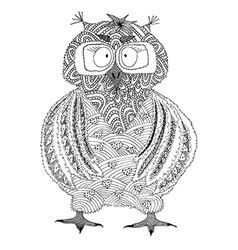 Hand drawn owl in doodle style vector