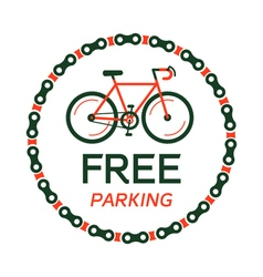 Bicycle free parking plate vector