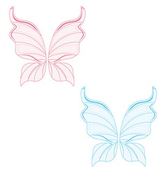 Blue and pink fairy wings vector