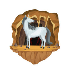 cave interior scene with unicorn greek vector image vector image