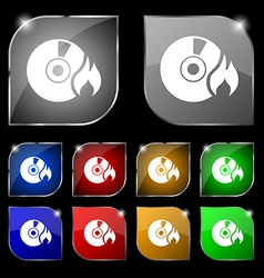 CD icon sign Set of ten colorful buttons with vector image vector image