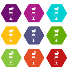Cocktail icon set color hexahedron vector