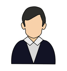 Colorful realistic image half body faceless man vector
