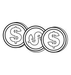 Contour coins dolar currency vector