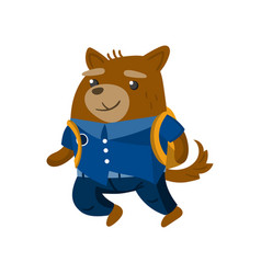 Cute funny dog student pupil animal in a blue vector