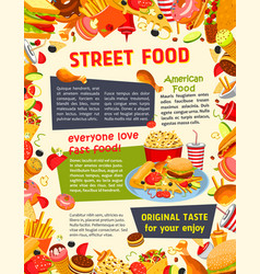 Fast food poster with burger drink and dessert vector