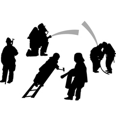 Firemen in action set siluettes vector