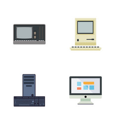 Flat icon laptop set of vintage hardware vector