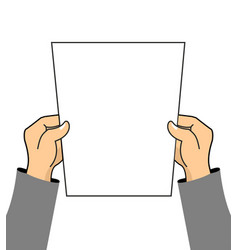 hands and clean sheet white blank plate of paper vector image vector image