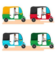 Indian motor rickshaw car indian tuk tuk vector