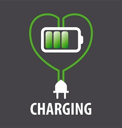 Logo battery in the heart and cable with plug vector