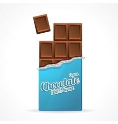 Milk chocolate bar open vector