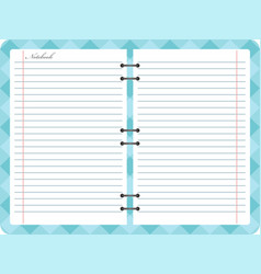 Open notepad notebook with spiral vector