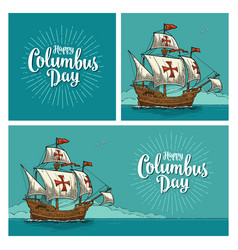 Posters for happy columbus day vector