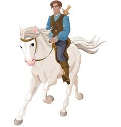 Prince charming riding a horse vector