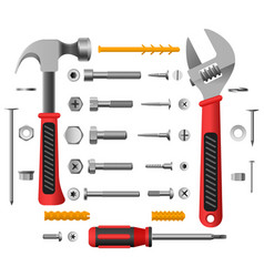 Screws nuts and tools vector