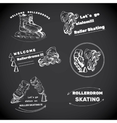 Set for roller skates with text hand drawn logos vector