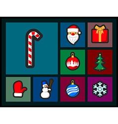 Set of Christmas flat icons vector image