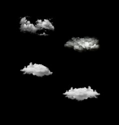 set of realistic isolated cloud on the vector image vector image