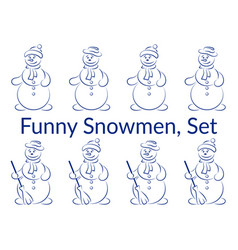Snowman pictogram set vector