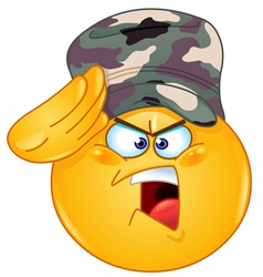 soldier saluting emoticon vector image