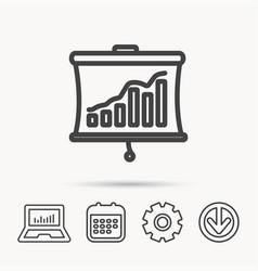 Statistic icon presentation board sign vector