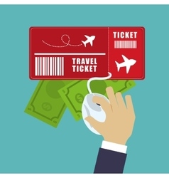Travel ticket money online tourist vector