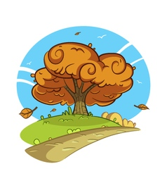 Tree by the road vector