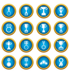 trophy icons blue circle set vector image