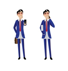 Two businessmen with mobile phones vector image vector image