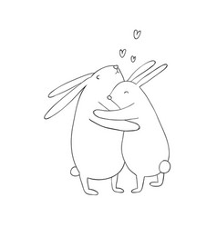 two lovely cartoon rabbits happy animals vector image vector image