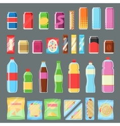 Vending machine product set in flat design vector