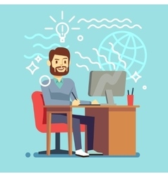 Young designer man working at computer vector